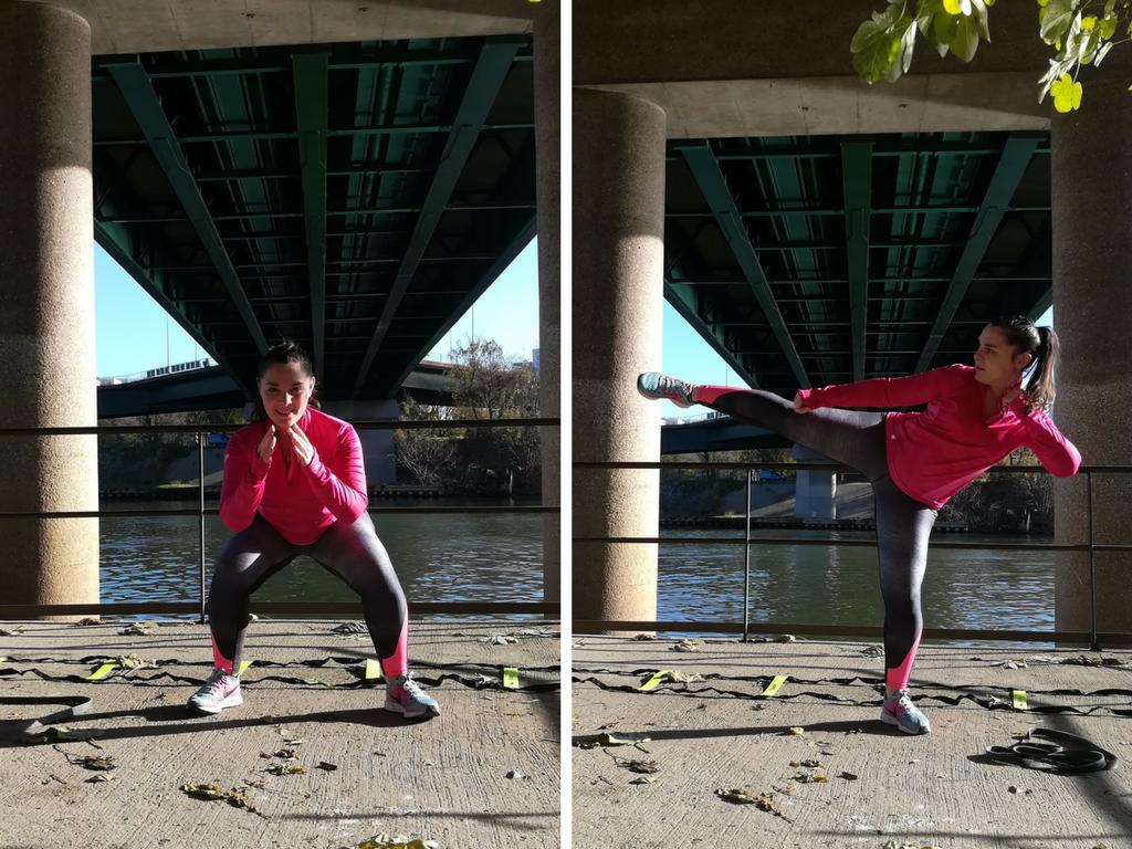 agility training - squat & kick côté