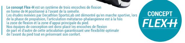 explications du concept Flex H de la chaussure de marche sportive chez Newfeel