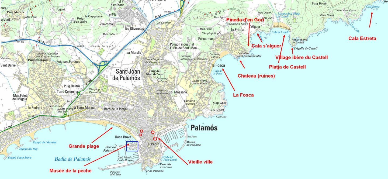 plan chemin de ronde palamos et la costa brava